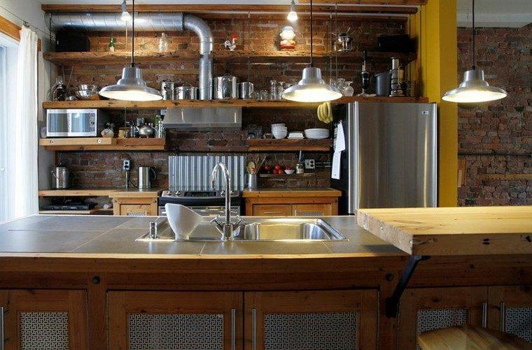 estanterias madera estilo industrial cocina ideas