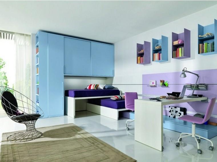 estanterias pared colores sillon precioso ideas