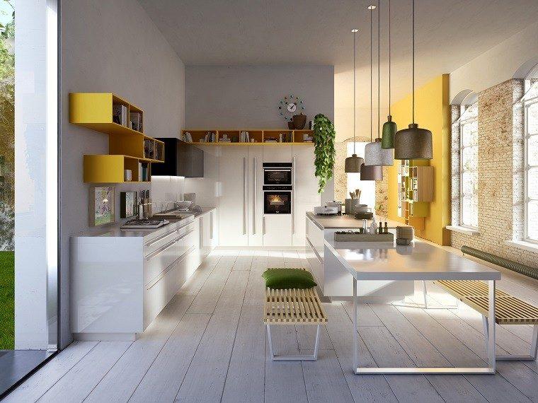 estantes amarillo cocina italia plantas