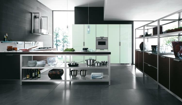 estilizada amplio almacenamiento cocina abierta
