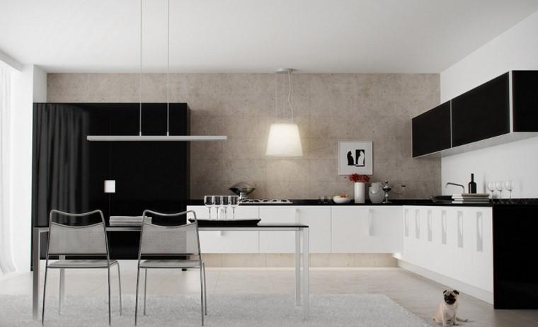 estilo cocina blanco negro armario grande moderna