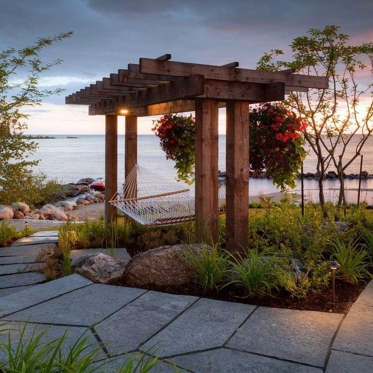 estilo fabuloso hamacas jardin pergola madera ideas