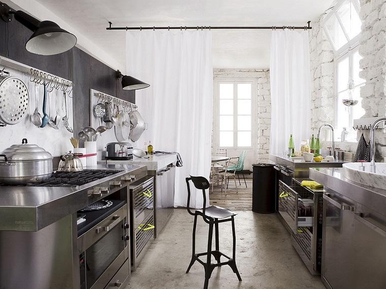 dise o industrial cocinas modernas y originales On cortinas estilo industrial