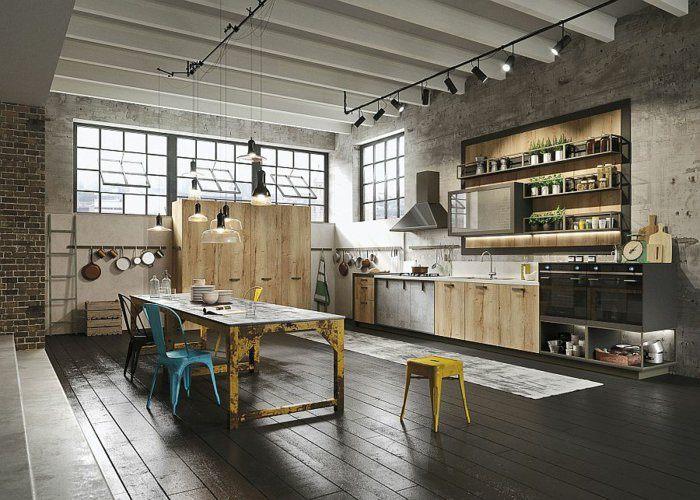 cocina estilo industrial taburete amarillo
