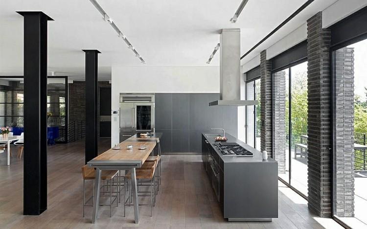 estilo moderno cocina gris columnas