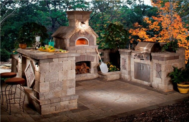 estilo rustico cocina exterior piedra taburetes ideas
