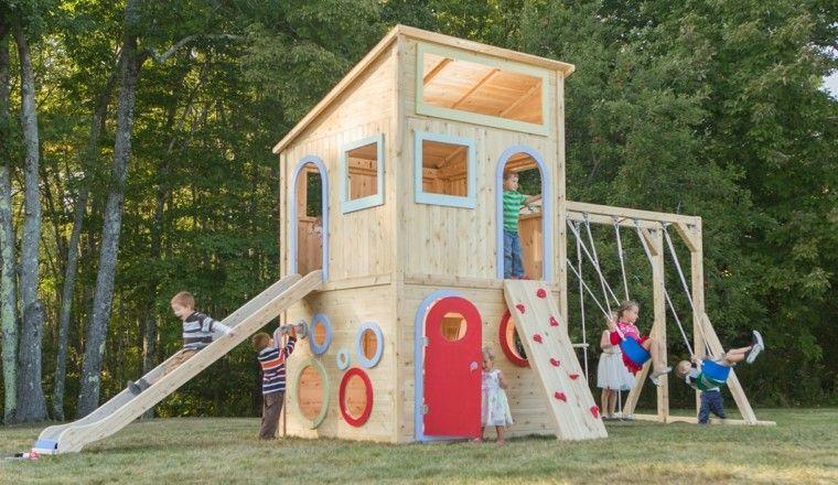 Parques infantiles en el jard n para un verano divertido - Casita con tobogan para ninos ...