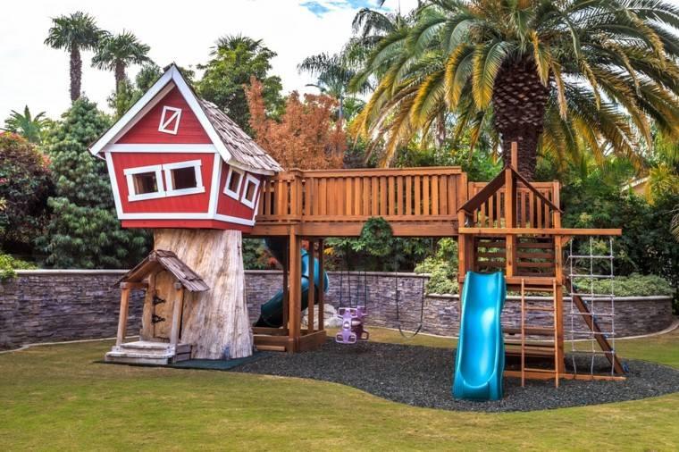 estupenda casita infantil roja palmera