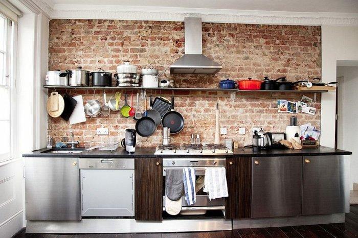 estupenda cocina pared ladrillo visto