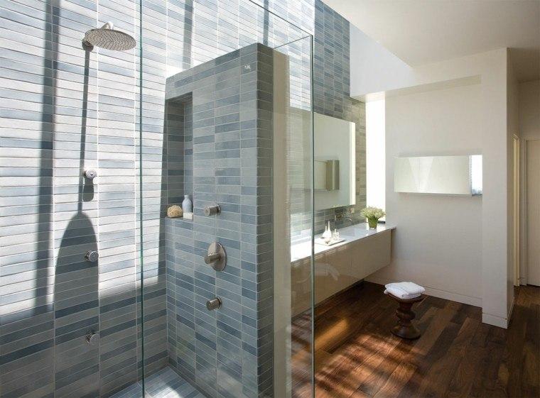 estupenda cabina ducha azulejos azules