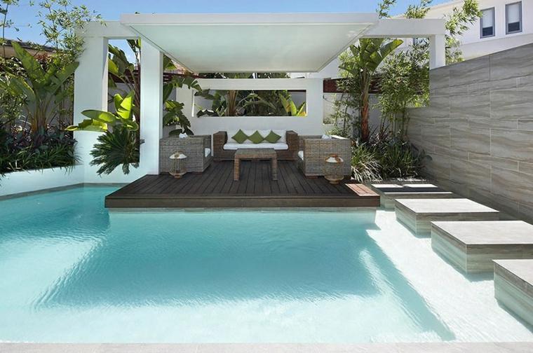 Modelos de dise os paisajistas con piscina 75 ideas - Terrazas con jardin ...