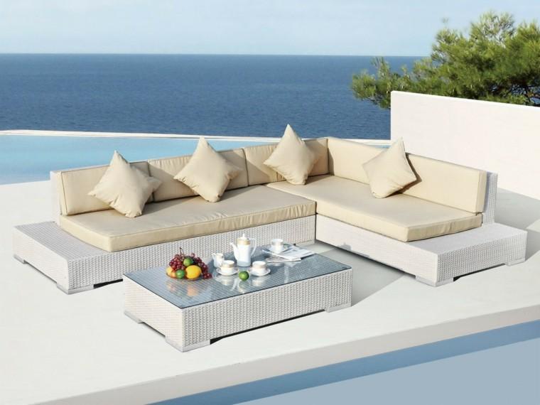 estupenda terraza rattan blanco
