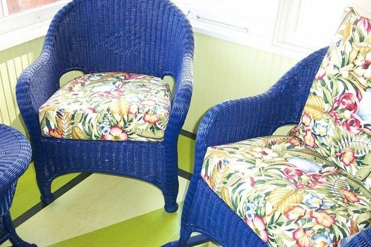 estupendas sillas rattan color azul