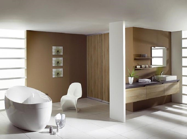 diseño moderno baño blanco madera