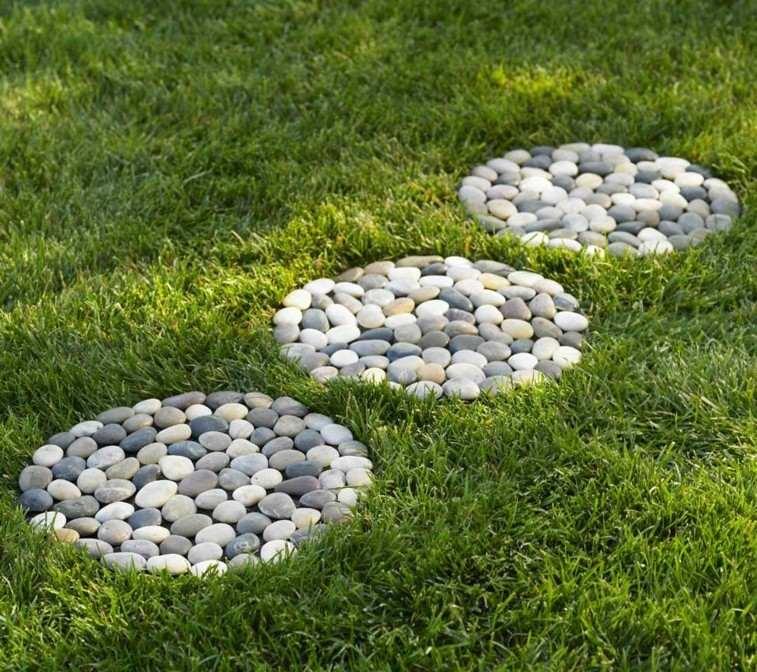 estupendo diseño circulos piedra guijarros