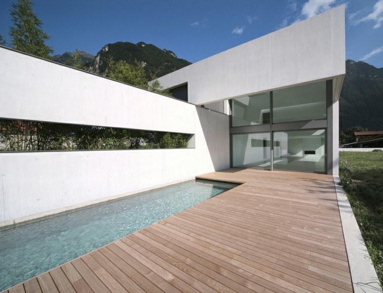 estupendo diseño terraza piscina madera
