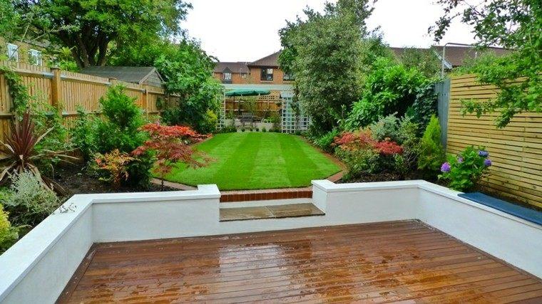 estupendo jardin plataforma madera terraza