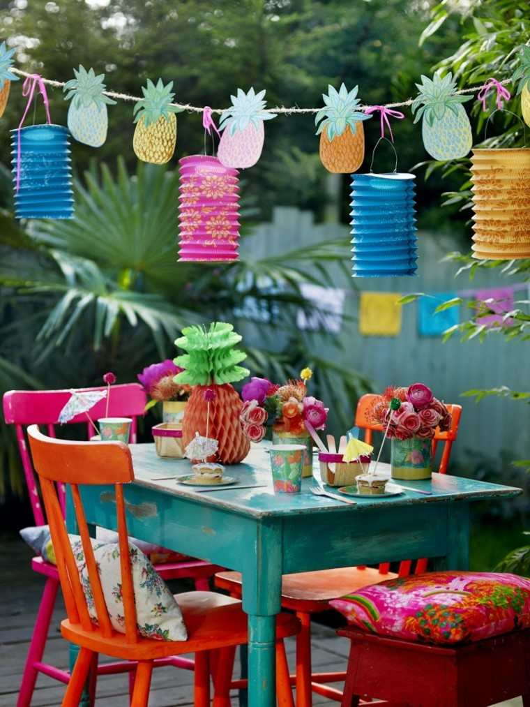 faroles papel colores muebles madera