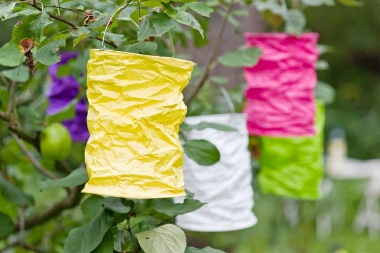 farolillos colores arrugados papel colgantes