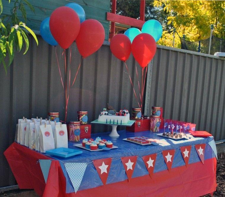 fiesta infantil decoracion azul rojo