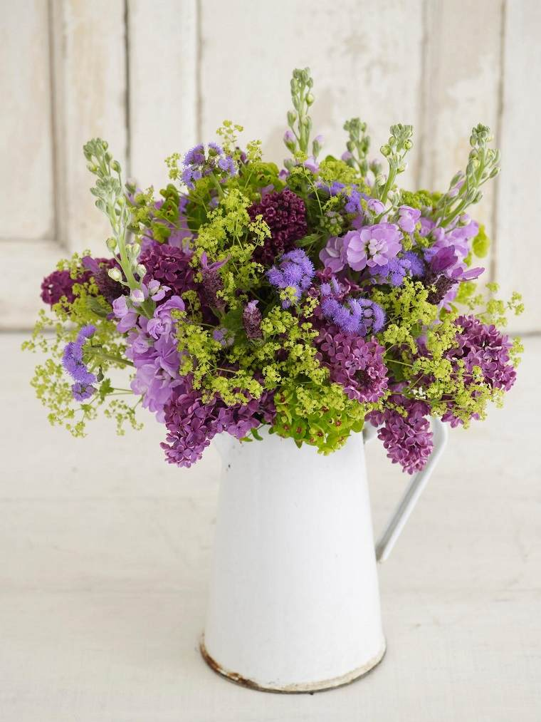 flores silvestres ramo recipiente blanco ideas