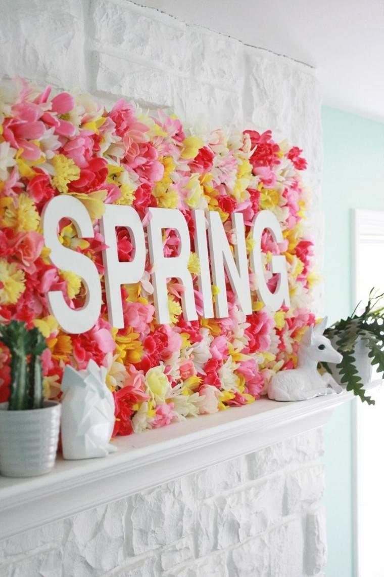 flores pared decorada verano colores ideas