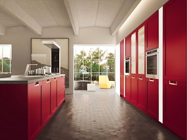 fotos de cocinas gris suelo rojo