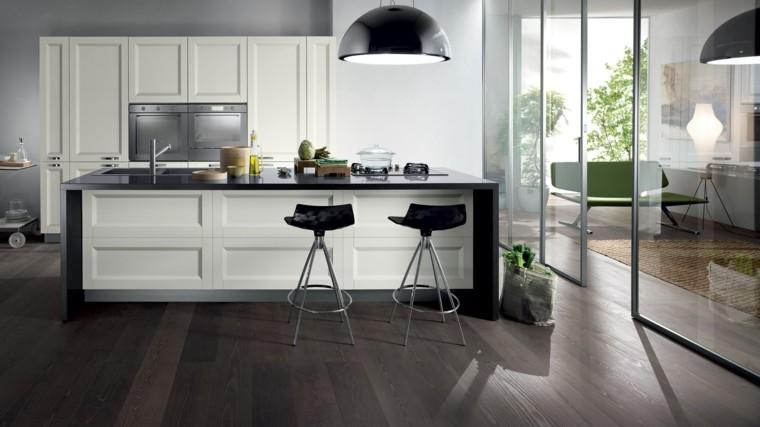 fotos de cocinas madera metales oscura