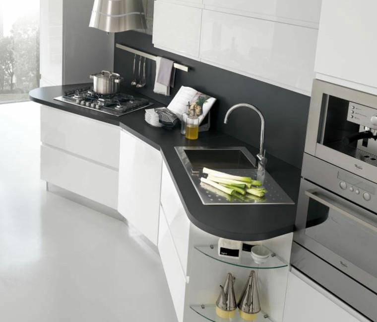 Fotos de cocinas modernas 75 variantes en tendencias - Distribucion cocinas rectangulares ...
