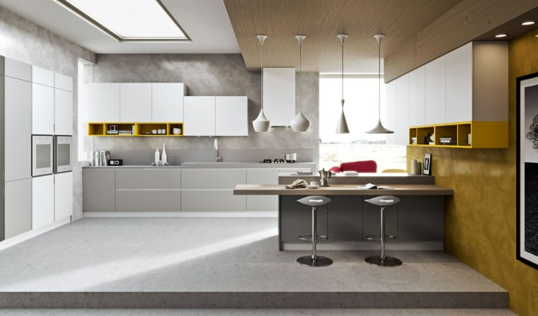 fotos de cocinas paredes amarillas diseño