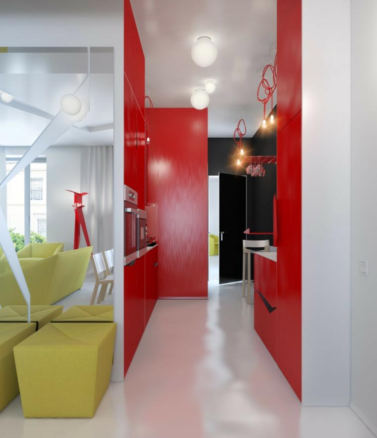 fotos de cocinas rojo mueble espacio pequeño