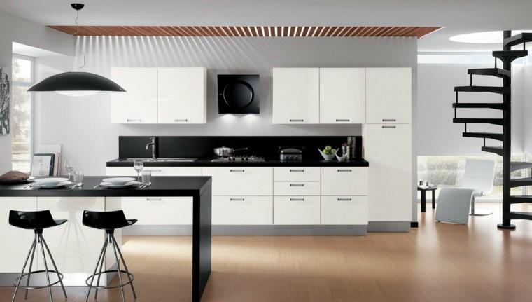fotos de cocinas taburetes negros lampara