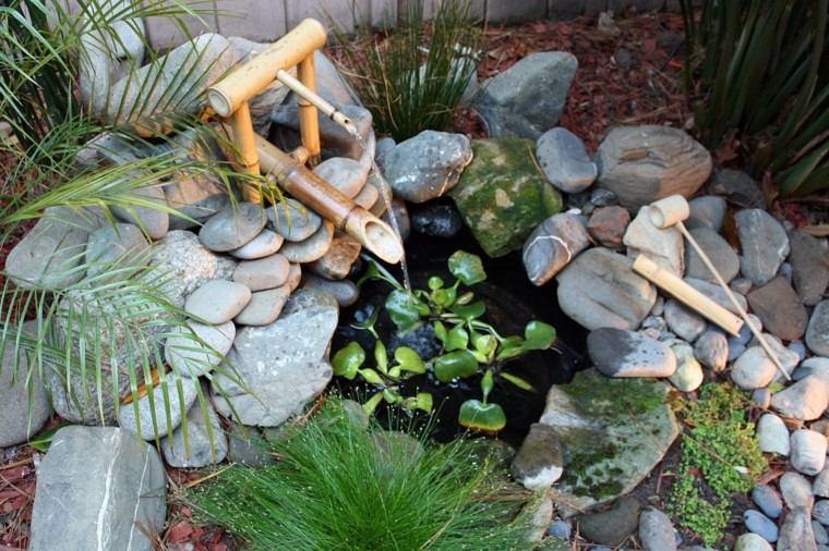 fuente bambu piedras caña bambu