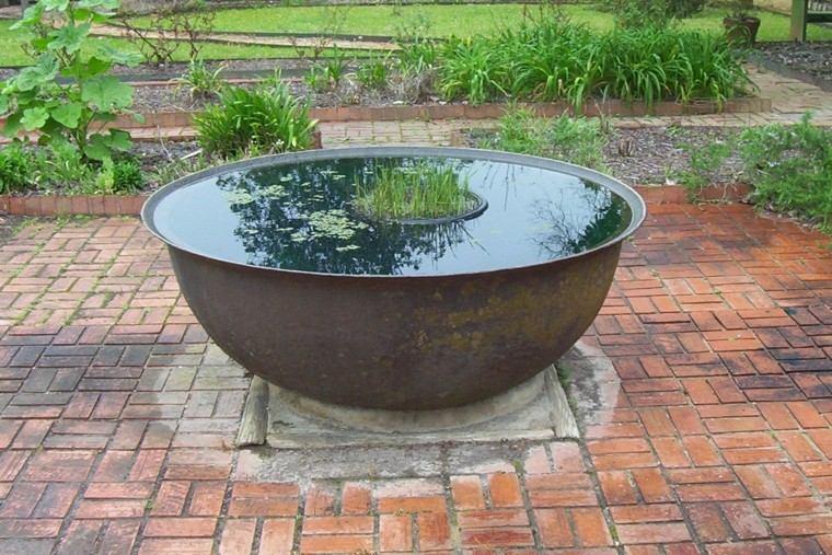 fuente redonda metal plantas acuaticas