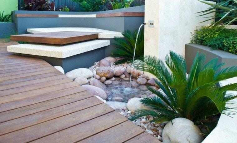 fuente jardin zen estilo minimalista
