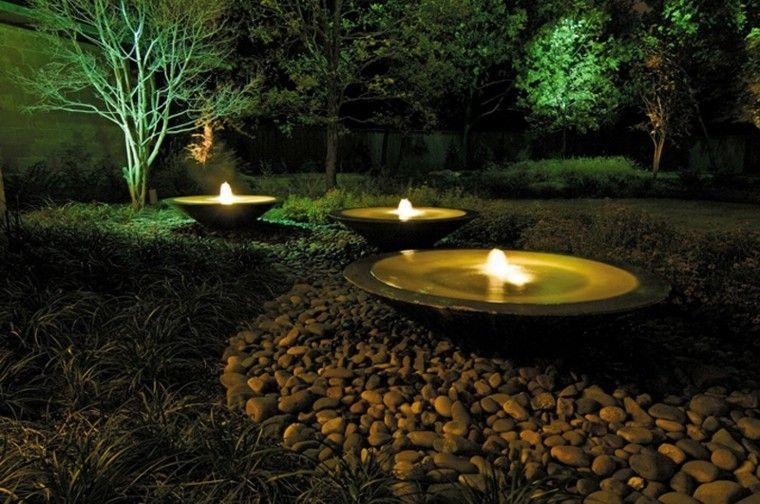 fuentes agua luces noche redondas