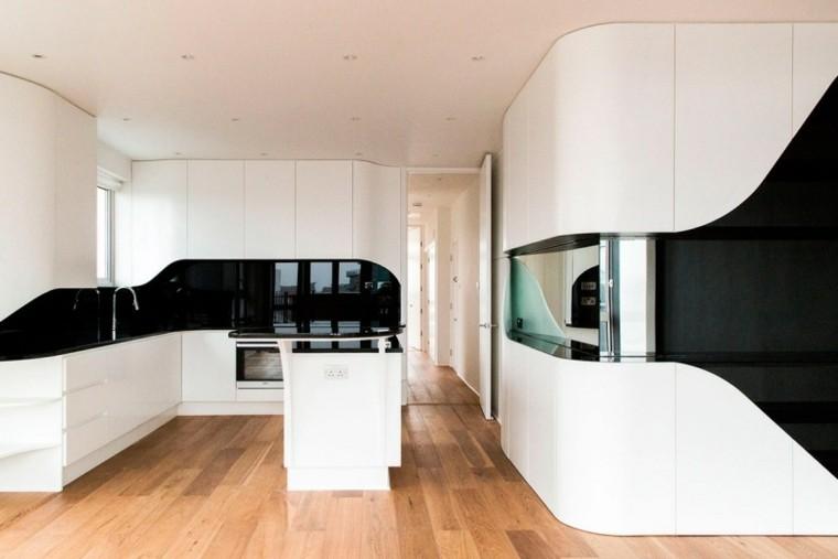 futurista madera amplia cocina gabinetes