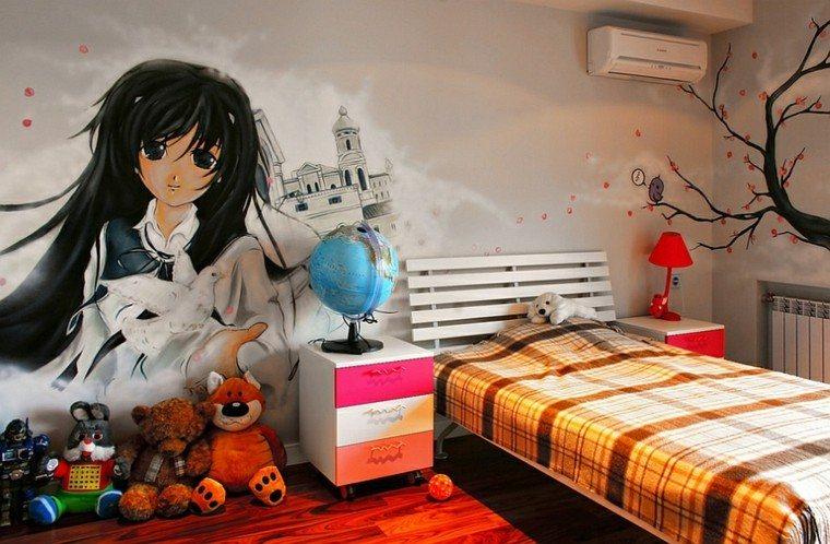 graffiti dormitorios chicas modernas pared pintada ideas