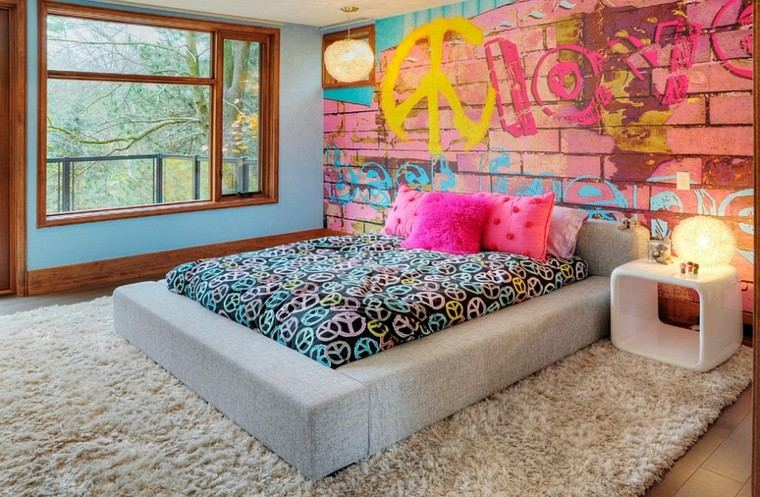 graffiti pared dormitorio colores vibrantes interesante ideas