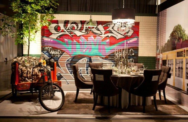 grafiiti pared interiores modernos ideas interesantes