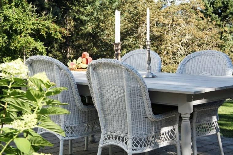 gris paloma rattan muebles jardín