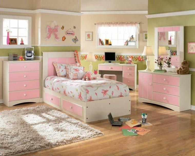 habitacion amplia nina cama madera ideas