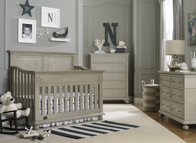 habitacion bebe muebles gris decoracion letras ideas