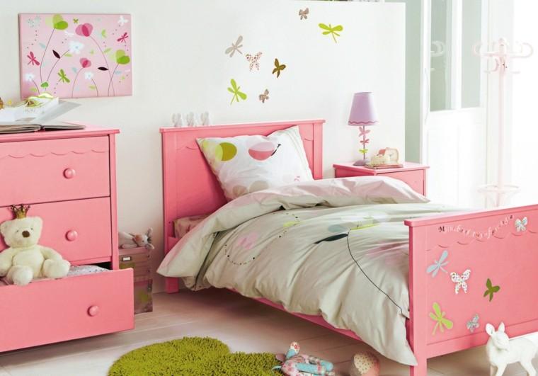 habitacion chica cama armario rosa ideas
