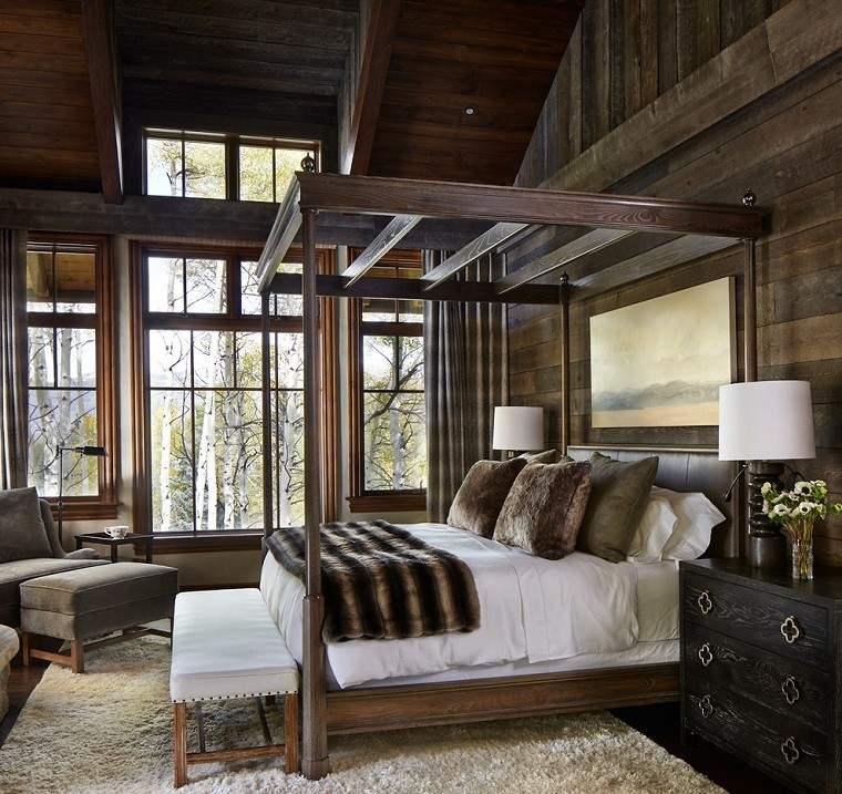 habitacion diseño oscura madera pieles