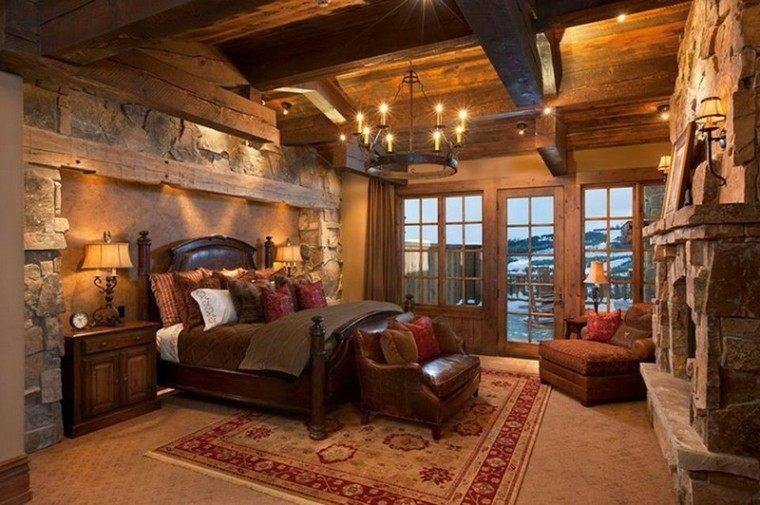 habitacion diseño rocas paredes calido