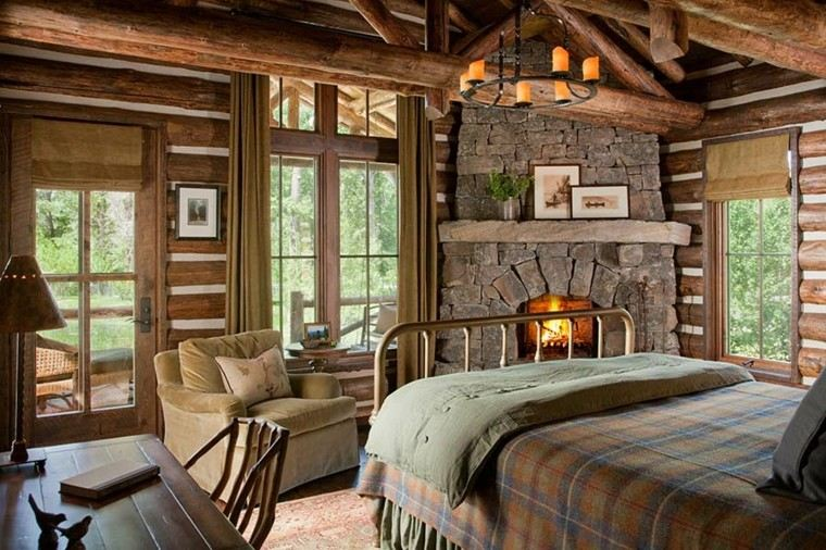 habitacion diseño rustico cuero lampara