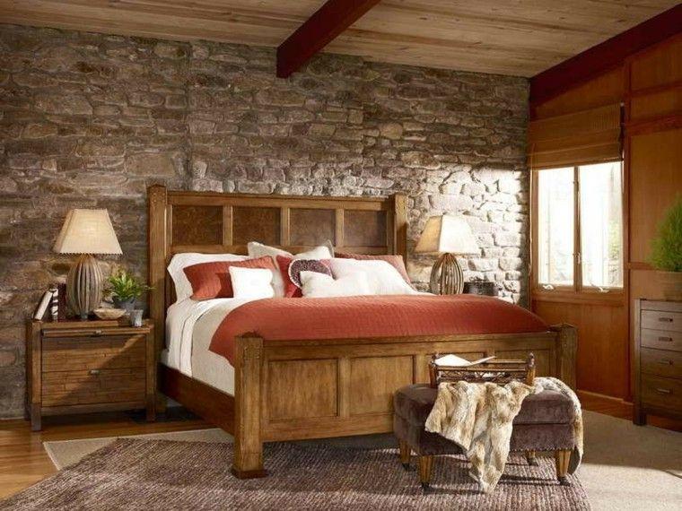 Habitacion dise o r stico 50 ideas para vivir lo natural - Lamparas estilo rustico ...