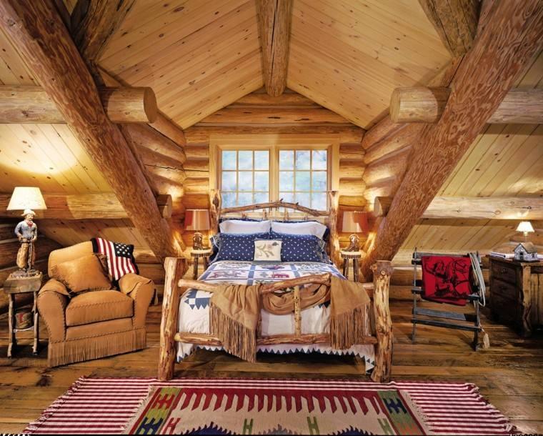 habitacion diseño rustico mobiliario banderas