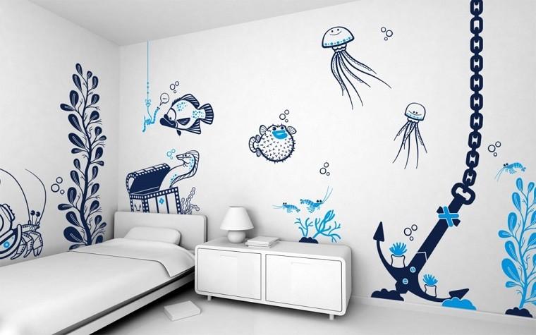 habitacion infantil azul blanco ancla
